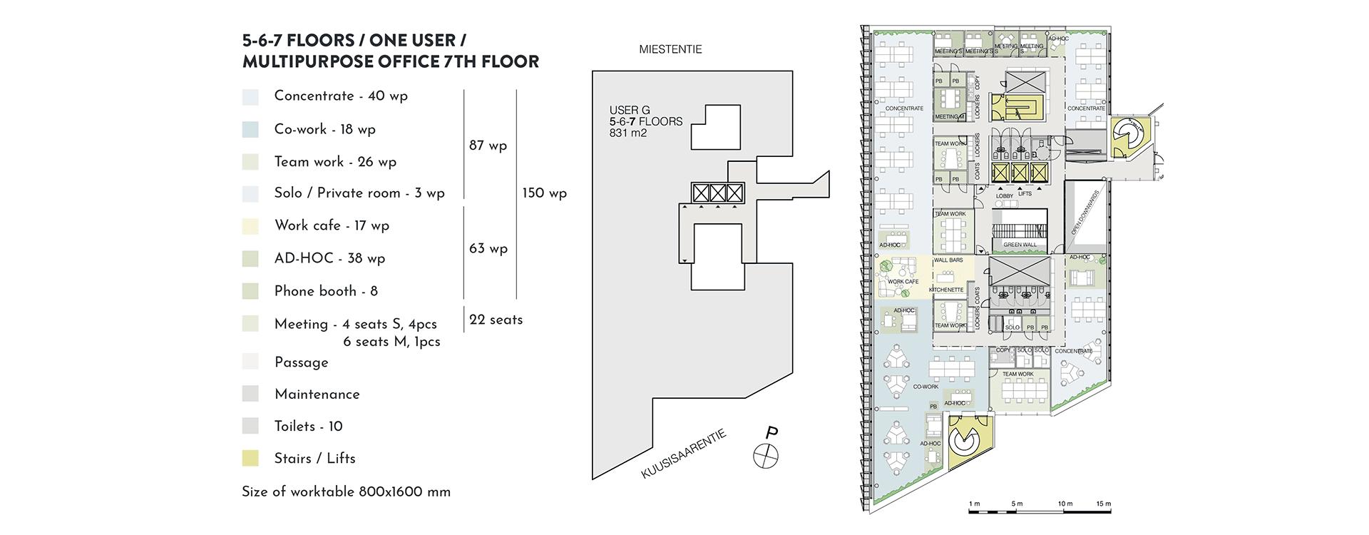Swing House pohjapiirros monitilatoimisto yhdelle käyttäjälle, 7. krs., pinta-ala 831 m2/kerros