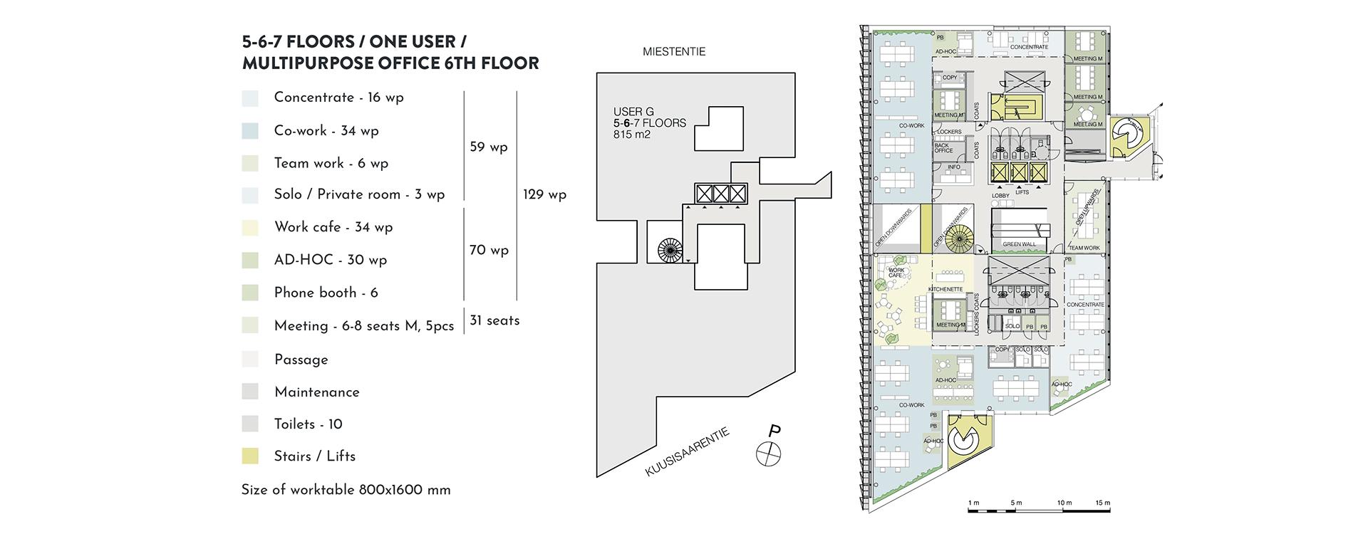 Swing House pohjapiirros monitilatoimisto yhdelle käyttäjälle, 6. krs., pinta-ala 815 m2/kerros