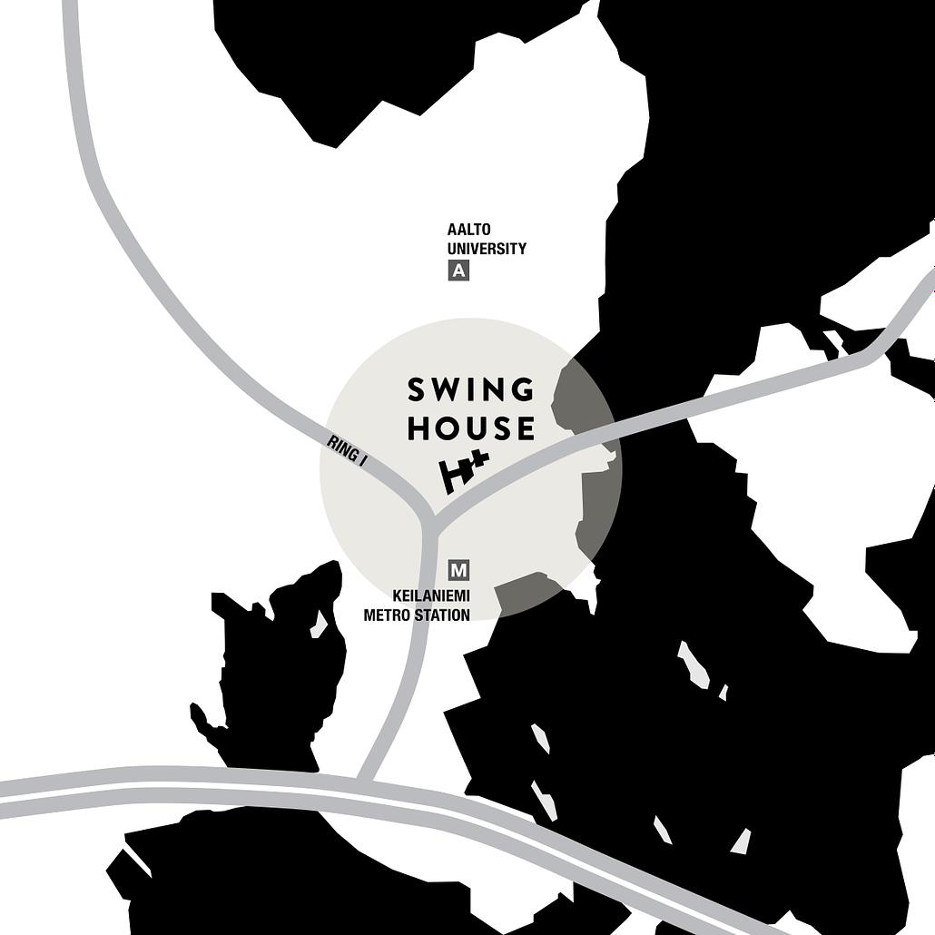 Swing House kartta, jossa näkyy sijainti Keilaniemessä, Keilaniemen ja Aalto Yliopiston metroasemien välissä.
