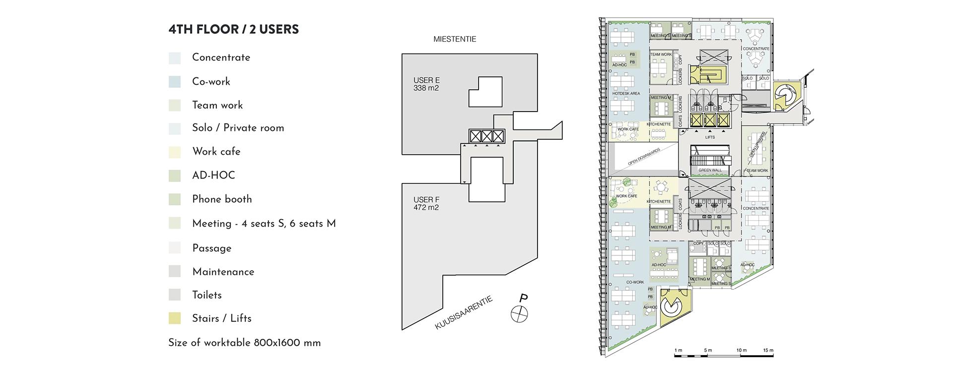 Swing House pohjapiirros monitilatoimisto, tilanjakoesimerkki kahdelle käyttäjälle, 4. krs., pinta-alat 338 m2 ja 472 m2