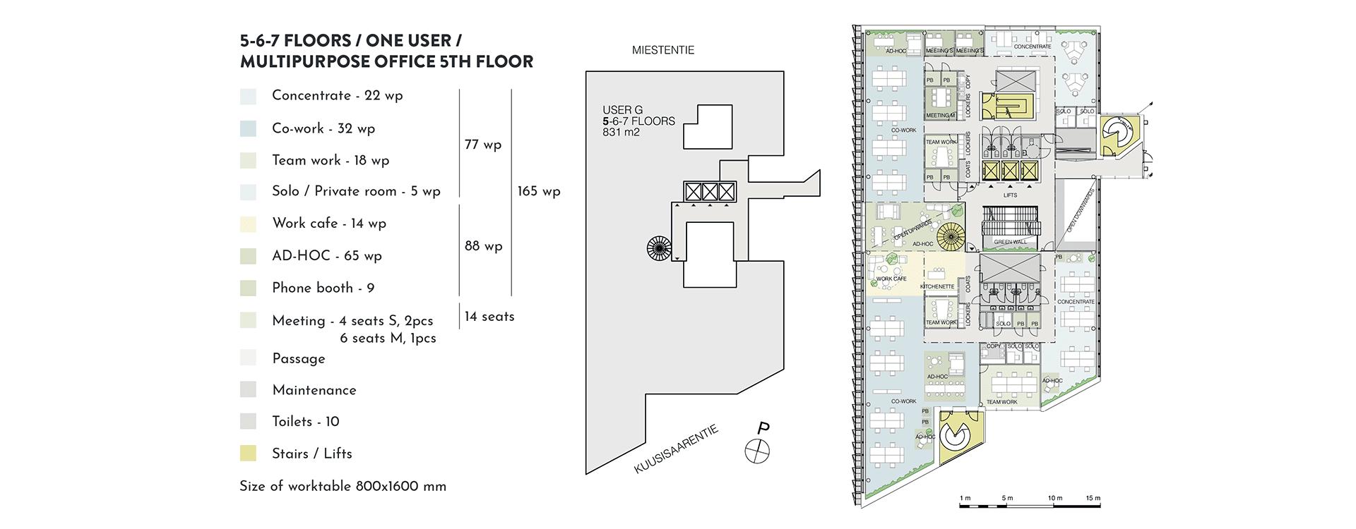 Swing House pohjapiirros monitilatoimisto yhdelle käyttäjälle, 5. krs., pinta-ala 831 m2/kerros