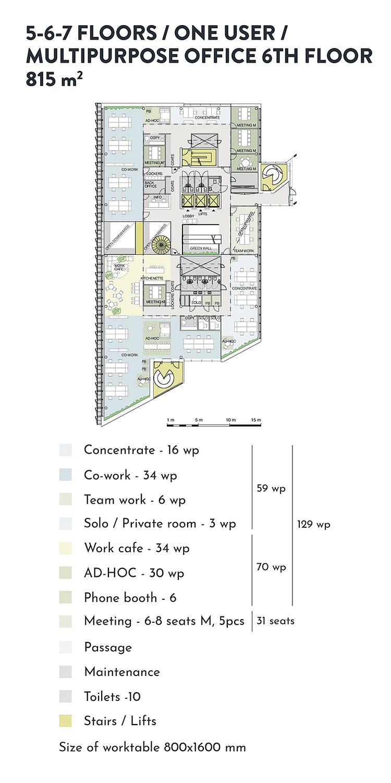 Swing House pohjapiirros monitilatoimisto yhdelle käyttäjälle, 6. krs., pinta-ala 815 m2/kerros, mobiilikuva