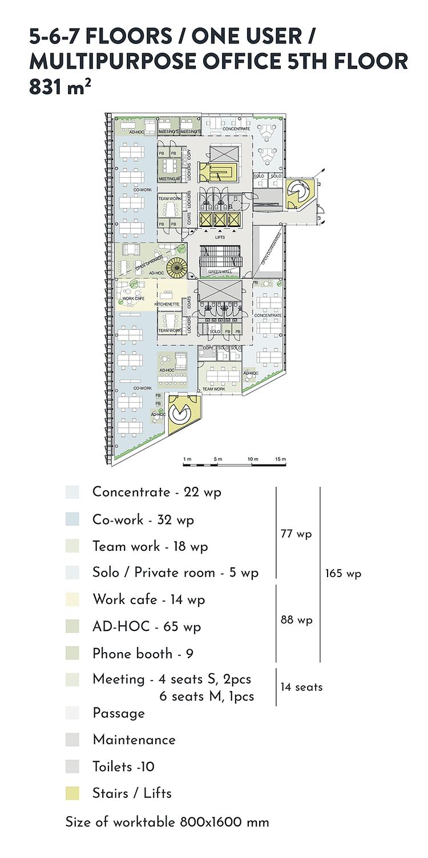 Swing House pohjapiirros monitilatoimisto yhdelle käyttäjälle, 5. krs., pinta-ala 831 m2/kerros, mobiilikuva