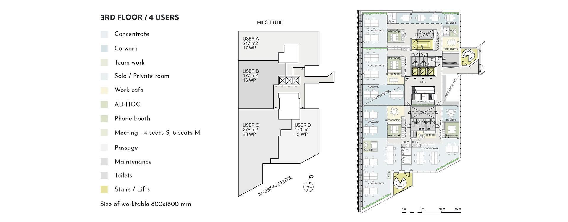 Swing House pohjapiirros monitilatoimisto, tilanjakoesimerkki neljälle käyttäjälle, 3. krs., pinta-alat 217 m2, 177 m2, 275 m2, 170 m2