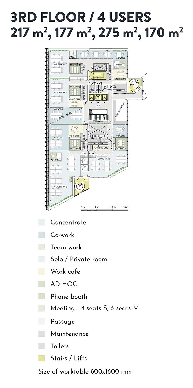 Swing House pohjapiirros monitilatoimisto, tilanjakoesimerkki neljälle käyttäjälle, 3. krs., pinta-alat 217 m2, 177 m2, 275 m2, 170 m2, mobiilikuva
