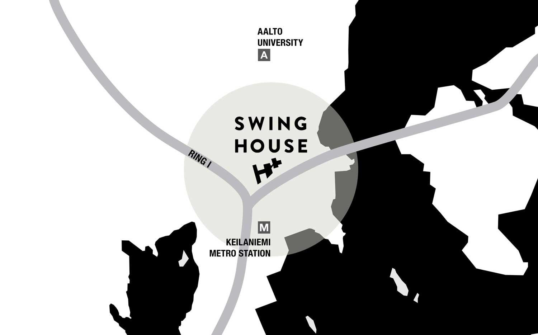 Swing House kartta toimitilat Espoon Keilaniemessä