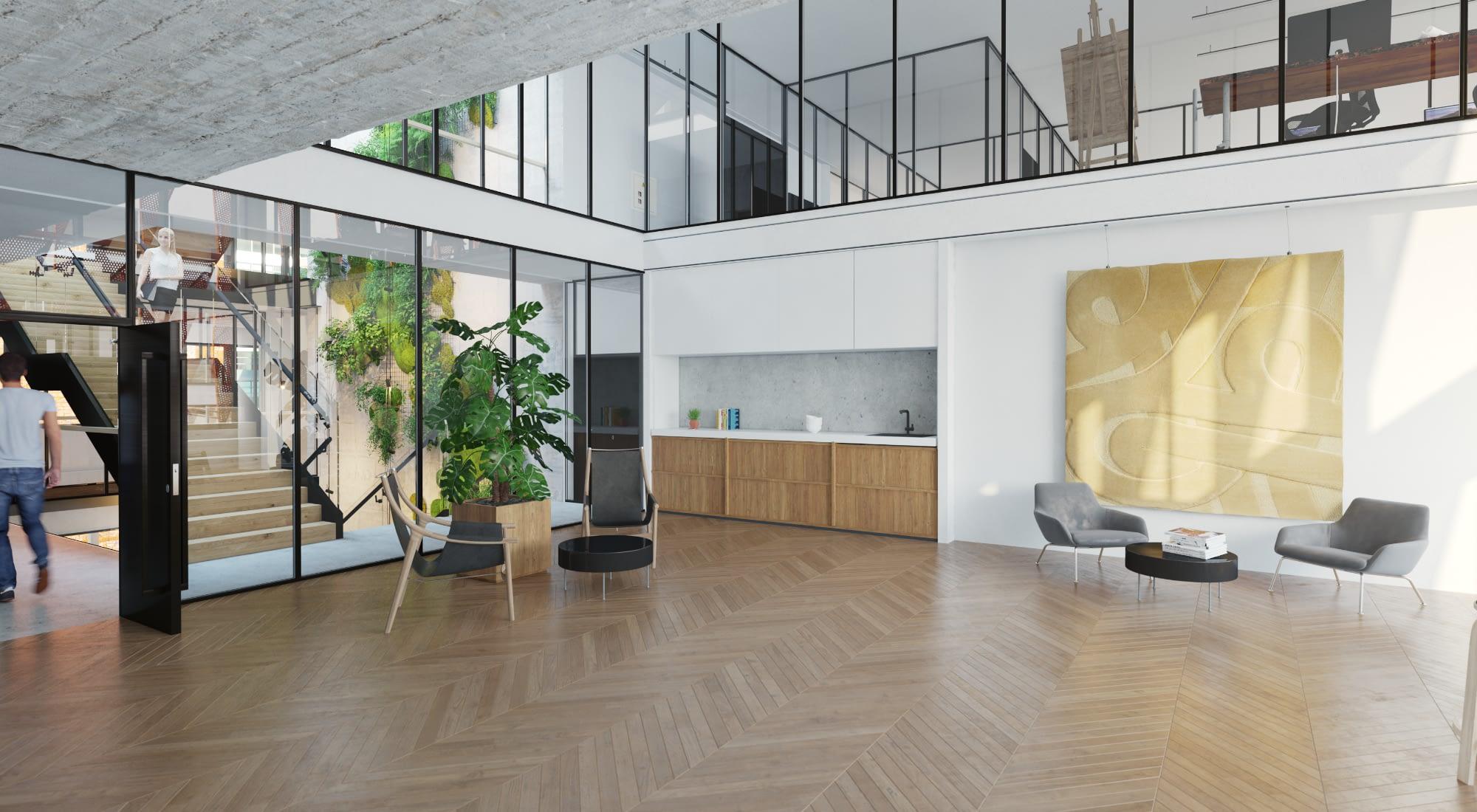 Swing House toimitilojen aula Espoon Keilaniemessä