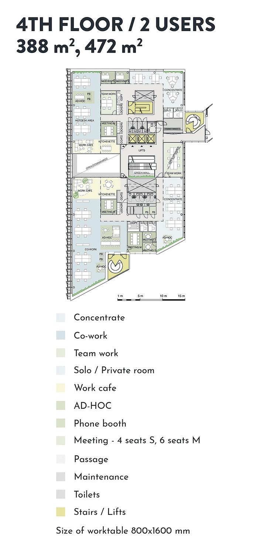 Swing House pohjapiirros monitilatoimisto, tilanjakoesimerkki kahdelle käyttäjälle, 4. krs., pinta-alat 338 m2 ja 472 m2, mobiilikuva