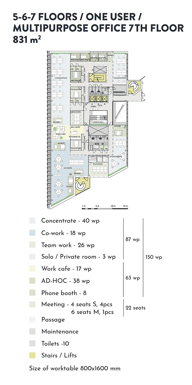 Swing House pohjapiirros monitilatoimisto yhdelle käyttäjälle, 7. krs., pinta-ala 831 m2/kerros, mobiilikuva
